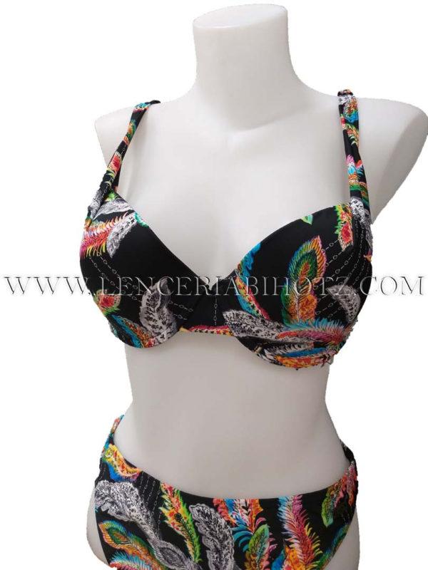 bikini con tiras regulables fondo negro y estampado de colores. Copas de relleno y push up