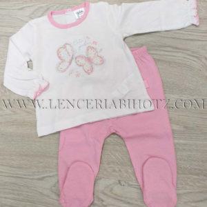 conjunto polaina manga larga para niña, Camiseta blanca con mariposas y polaina rosa con motas brillantes