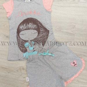 pijama niña Anekke para verano gris con volantes en el pantalon y camiseta manga corta con mangas a lunares