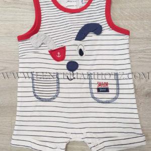 pijama bebe de tirantes blanco con rayas, y remates en rojo en cuello y tirantes. 2 bolsillos, bordados de perrito