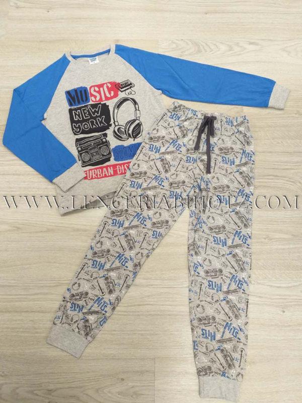 pijama niño largo camiseta mangas de color azul y pantalon gris estampado de letras