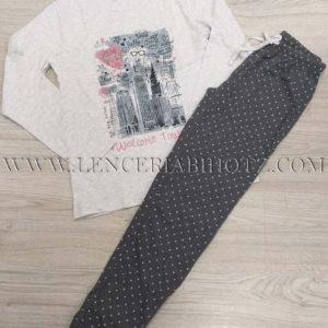 pijama largo algodon para niña . Camiseta estampada blanca y pantalon con puño gris marengo con motas