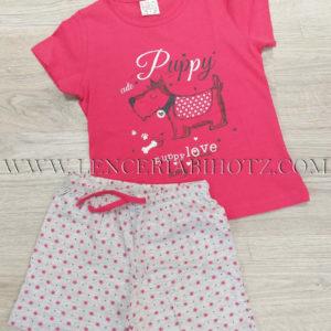 pijama de verano corto para niña con manga corta, fuxia. Pantalon estampado