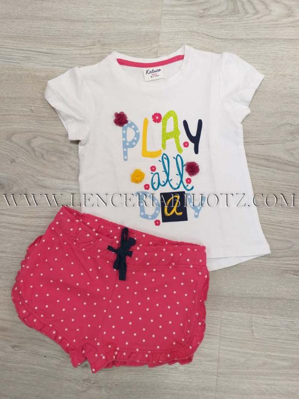 pijama niña para verano pantalon corto blanco y fuxia