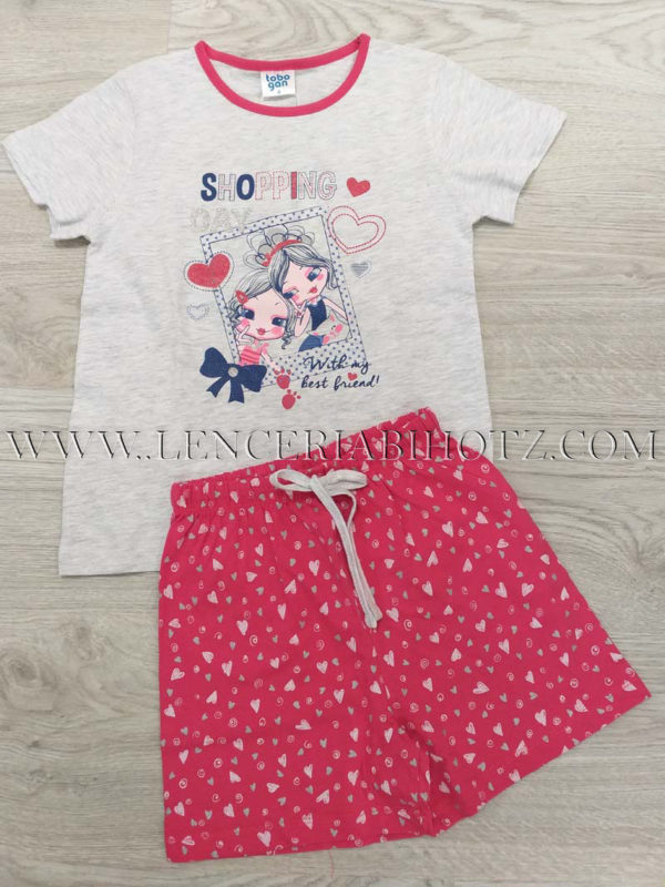 pijama niña manga corta blanca con pantalon corto estampado fuxia