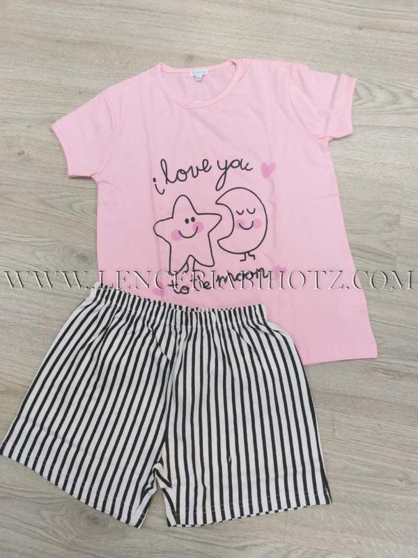 pijama para niña de verano con pantalon corto con rayas verticales y manga corta rosa con dibujo sol y luna