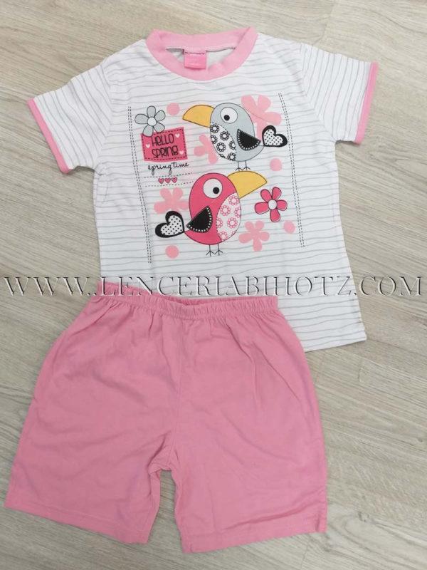 pijama niña verano manga corta blanca con dibujos rosas y pantalon corto rosa