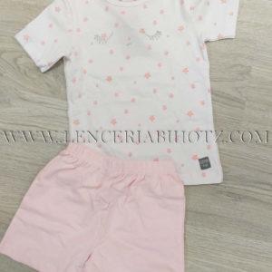 pijama para niña rosa pastel con camiseta manga corta blanca con estrellas rosas