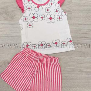 pijama verano para niña de bermuda de rayas y camiseta sin mangas con volantes en los hombros y estampado margaritas