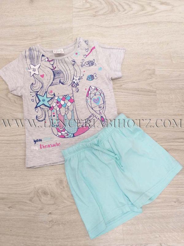 pijama niña para verano gris y verde aguamarina con el dibujo de una sirena