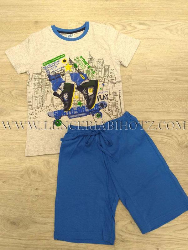 pijama niño, camiseta manga corta gris estampada, pantalon azul liso