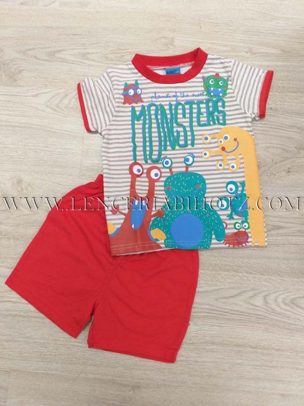 pijama niño camiseta manga corta a rayas con dibujos de monstruos, y pantalon corto rojo