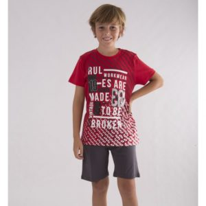 pijama niño manga corta de color rojo