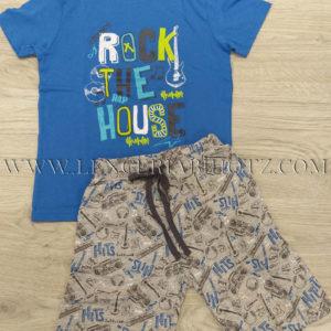 pijama manga corta niño, camiseta azul con letras y pantalon gris estampado