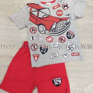 pijama para verano de niño camiseta manga corta gris con coches y señales de trafico y pantalon rojo