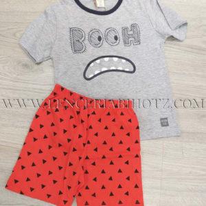 pijama pantalon corto color sandia verano para niño. Camiseta gris con carita impresa