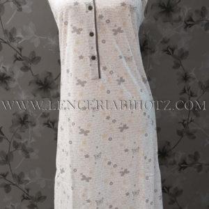 camison tirantes anchos en blanco y estampado en gris de mariposas