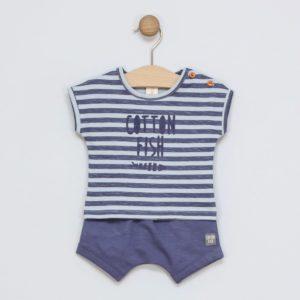 conjunto de bebé camiseta rayas y short azul marino