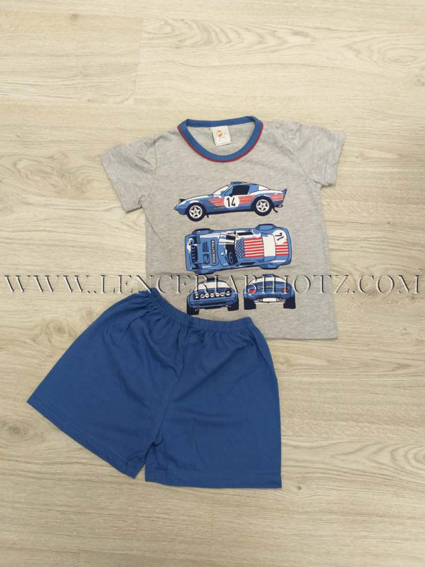 pijama niño corto. Camiseta manga corta gris con estampado coches, pantalon azulon