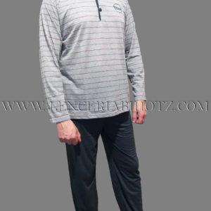 pijama hombre manga larga con pantalon azul marino y camiseta gris con rayas finas. Botones en el cuello