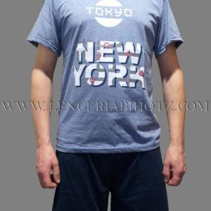 pijama hombre camiseta manga corta azul jeans con letras y pantalon corto liso azul marino