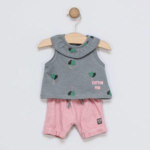 conjunto bebe niña sin manga petalos gris y short rosa