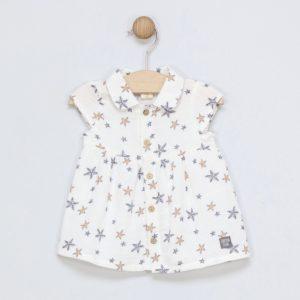 vestido de bebé sin mangas color blanco con estrellas grises