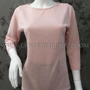 jersey de mujer manga francesa de color rosa