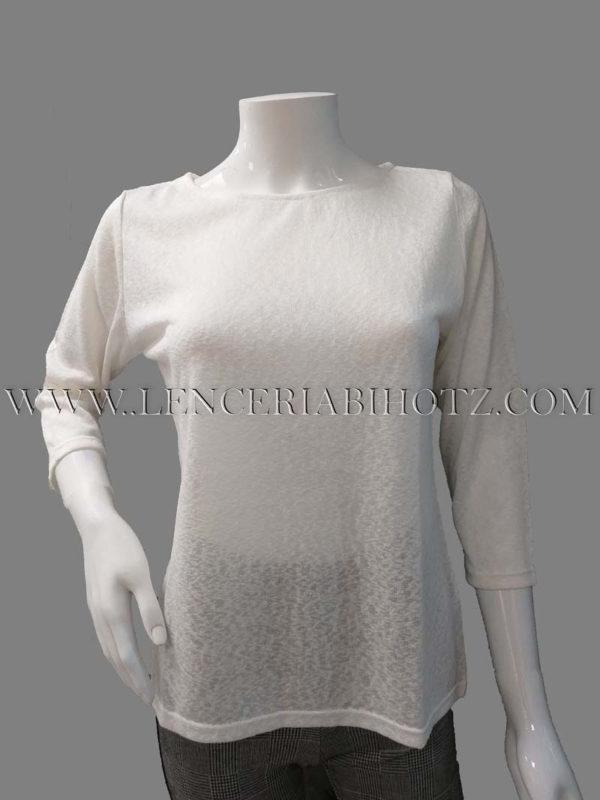 jersey fino de mujer de manga francesa de color blanco