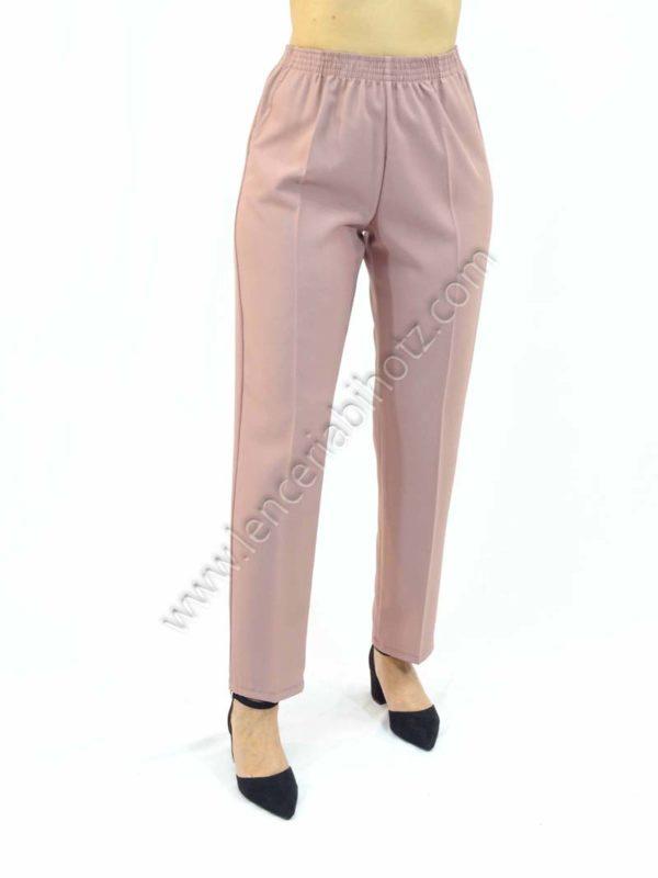 pantalon de señora color maquillaje con goma en la cintura y bolsillos laterales