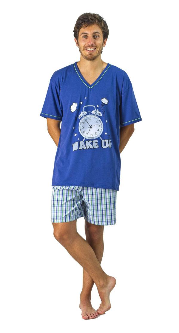 pijama pantalon tela cuadros azules y verdes. Camiseta azulon cuello pico dibujo despertador