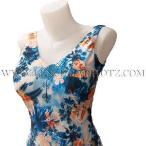 bañador con interior preforamado con foam y estampado tropical en tonos naranjas y azules, Tirantes anchos