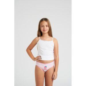 braga niña blanca con rayas y puntilla y lazo