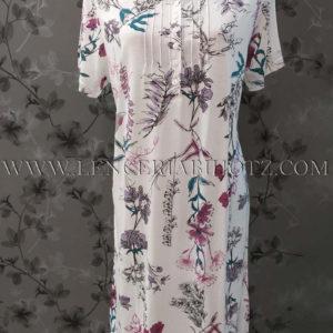 camison manga corta con botones y lorzas estampado flores grandes