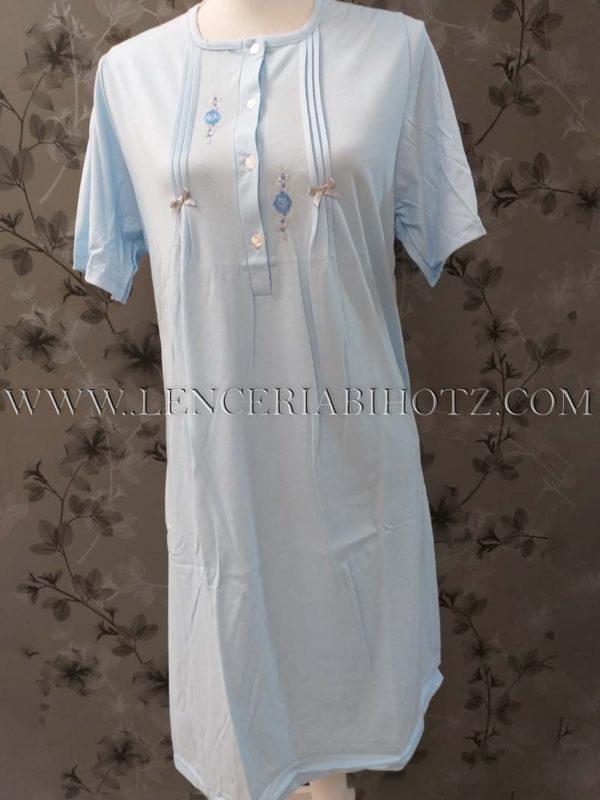 camison celeste de manga corta con botones y lorzas