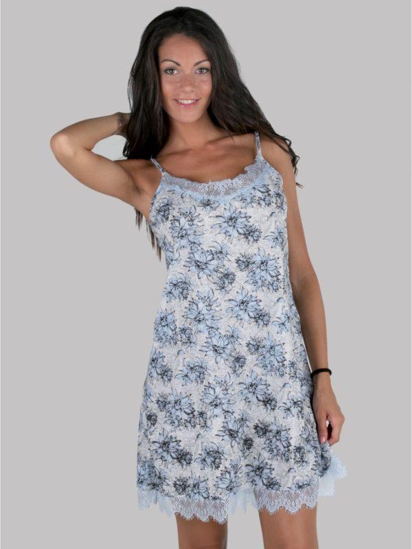 camison tiras finas flores con puntilla en el bajo y escote, Tonos azules y grises