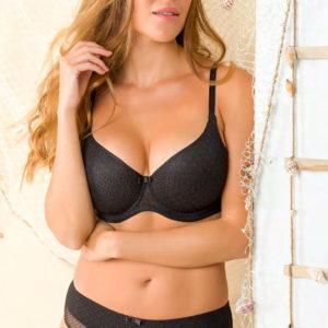 conjunto de sujetador con relleno en copas de encaje rejilla, Braga bikini, color negro