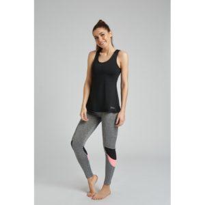 legging deportivo gris jaspeado con detalle siemitransparente en negro y detalle en rosa en cada pierna