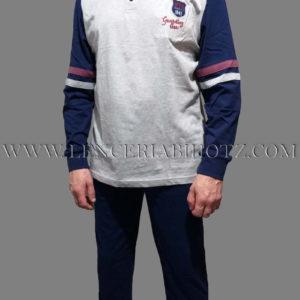 pijama hombre largo con puños camiseta con botones, y mangas azul marino sobre fondo gris, pantalon azul marino