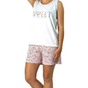pijama tirantes anchos camiseta en crudo y pantalon corto estampado floral en color salmon
