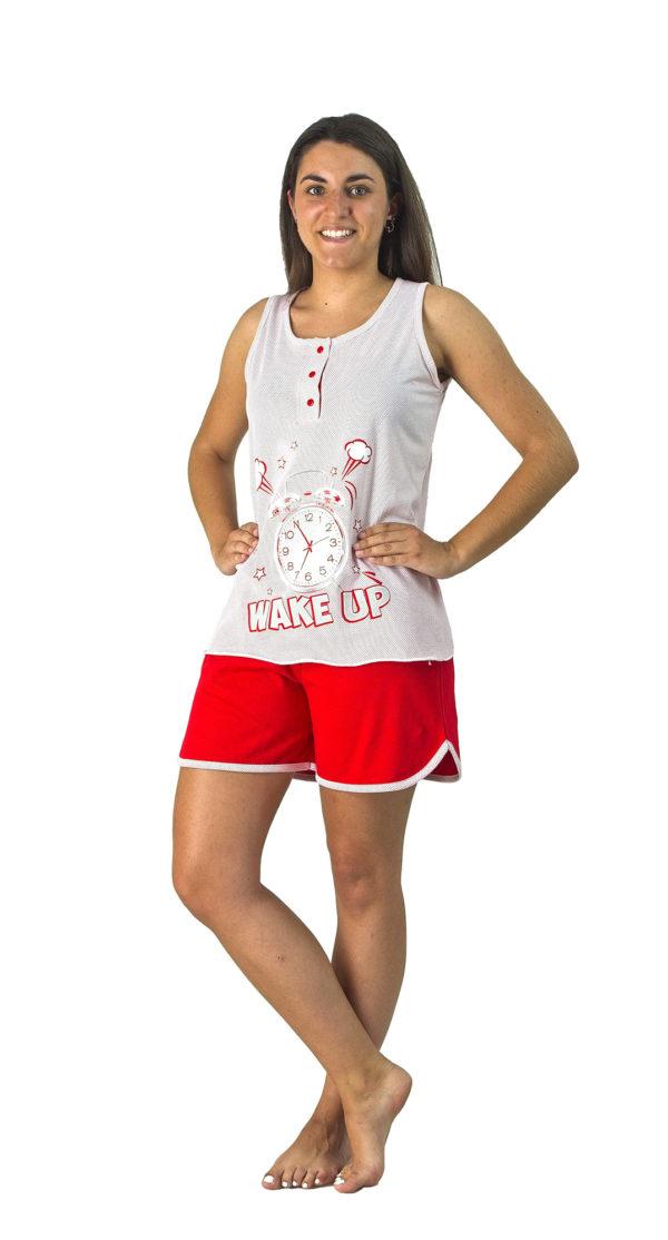pijama tirantes anchos pantalon corto rojo, camiseta blanca con mota roja y estampado despertador