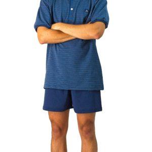 pijama hombre azul acero. Camiseta manga corta con botones y estampado clasico, pantalon corto liso