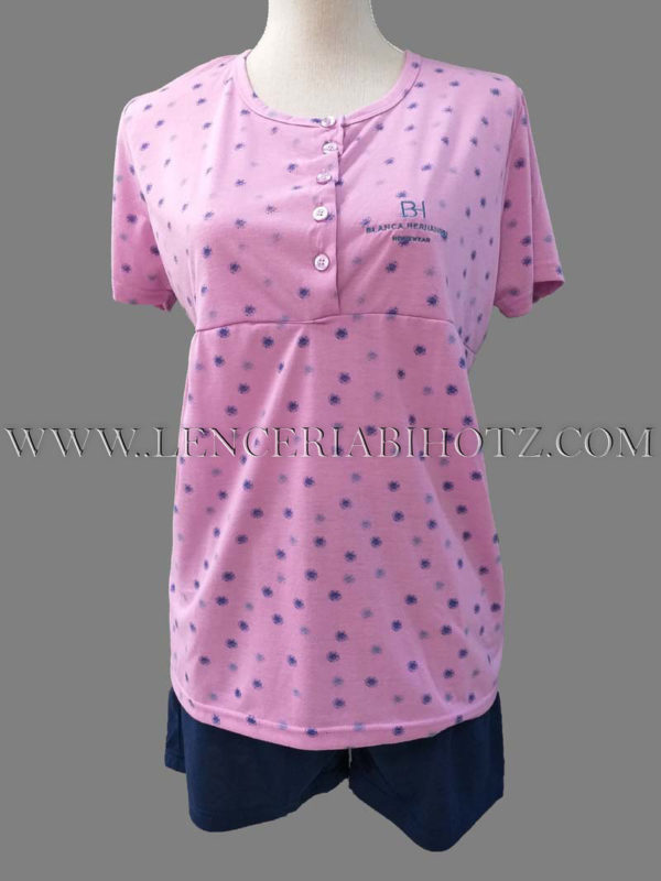 pijama mujer camiseta manga corta con corte en el pecho color malva intenso, con manchas difuminadas, pantalon corto marino