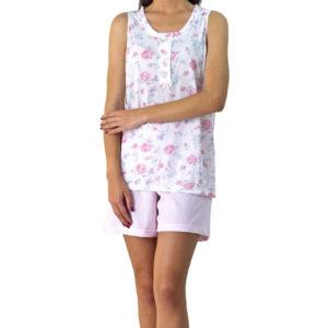 pijama mujer corto color rosa pastel, pantalon corto y camiseta de tirantes anchos con estampado de rosas