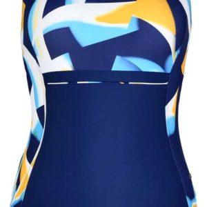 bañador piscina marino con detalles en azul y amarillo en el pecho