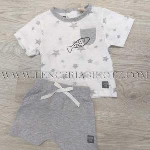 conjunto bebe 2 piezas, camiseta manga corta blanca con detalles en gris jaspeado. Pantalon algodon gris suave