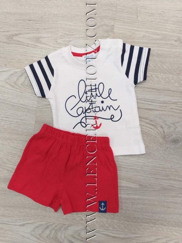 conjunto 2 piezas bebe corto, pantalon algodon rojo y camiseta blanca con rayas en las mangas