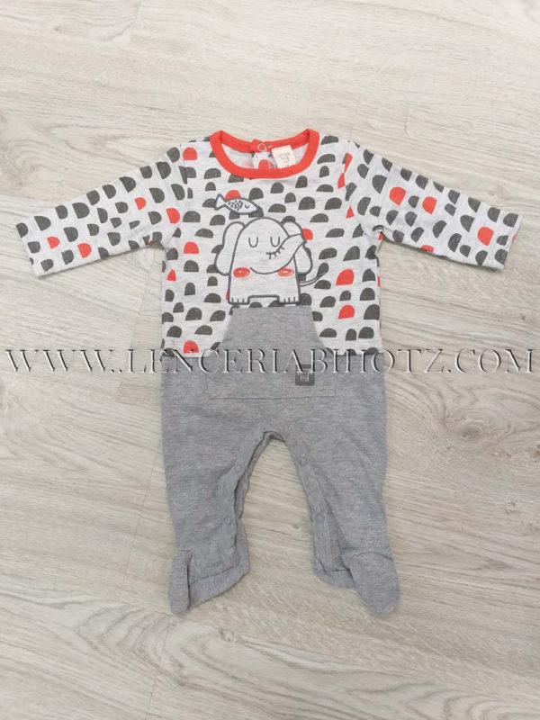 pijama bebe largo gris con detalle en naranja y el remate del cuello, bolsillo