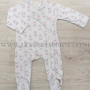 pijama bebe largo abertura delantera, estampado conejos