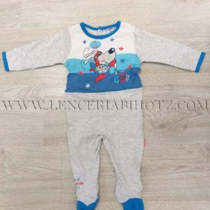 pijama largo algdon bebe gris y azul